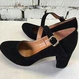 Туфли лодочки круглоносые с ремешками натуральная замша/кожа/лак размеры 36-41
