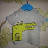 Серая футболка F&F с крокодилом до 3 мес, 62 см