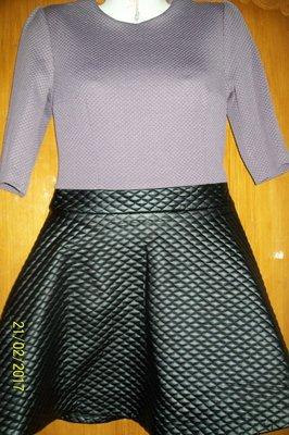 Стильное брендовое платье со стеганной юбкой Супер мода года