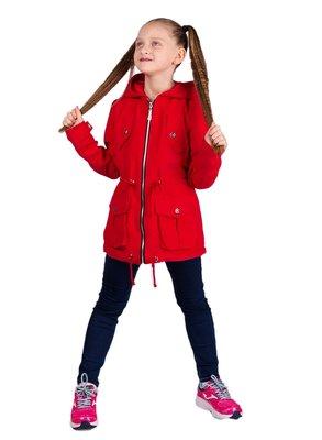Новинка ветровка-парка для девочки Семи , 128-158 см, джинс и красный