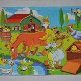 Деревянная игрушка Пазлы яркие красивые герои Ферма формат А4 15 деталей