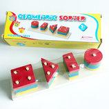 Геометрический сортер, геометрика деревянная, гео пирамидка, игрушка из дерева