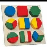 Деревянная рамка-вкладыш с геометрическими фигурами, деревянные пазлы, геометрика
