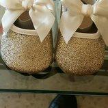 Пинетки туфельки для девочки серебро золото в наличии
