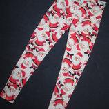 Новогодние лосины леггинсы с принтом Санта Клаус F&F