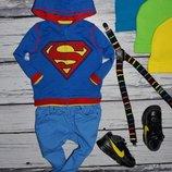9 - 12 месяцев 74 - 80 см Обалденная фирменная Кофточка реглан батник кенгурушка толстовка Супермен