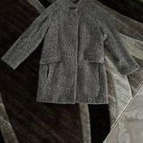 пальто шерсть лама нюдовый тауповый леопард Zara