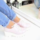 Женские туфли броги пудра натуральная кожа