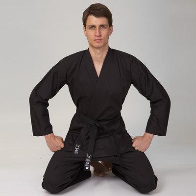 Кимоно для каратэ черное Matsa 0017, хлопок 130-190см, плотность 240