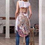 рубашка легкая шелковая с удлиненной спинкой, рисунком-принтом, застежка пуговицы, дл 60/105см разме