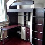 Кровать-Чердак с рабочей зоной и угловым шкафом к10-2 Merabel