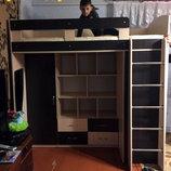Кровать-Чердак с пеналом, полками, ящиками и боковым шкафом к30 Merabel