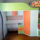 Кровать-Чердак с мобильным столом, угловым шкафом и лестницей-комодом кл4-2 Merabel
