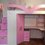Кровать-Чердак с рабочей зоной, угловым шкафом и лестницей-комодом кл6-7 Merabel