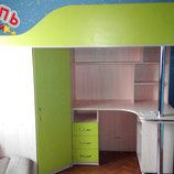Кровать-Чердак с рабочей зоной, угловым шкафом и лестницей-комодом кл17 Merabel