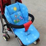 Матрас в коляску, автокресло, стульчик для кормления, санки,цвет голубой