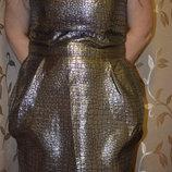Вечернее серебристое платье 16 размера