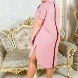 Платье Креп костюмка Платье- рубаха на кнопках молнии рабочие В Наличии Все Цвета