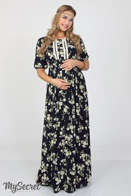 91076285af43 Шикарное длинное платье для беременных и кормления, из легкого штапеля,  жасмин