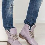 Ботинки тимберденды на шнурках натуральная замша Италия р.36-41 марсала