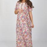 Шикарное длинное платье для беременных и кормления, из легкого штапеля, экрю
