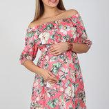 Очень красивое платье для беременных и кормления из штапеля, корал