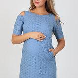 Хлопковое платье для беременных, из батиста-прошвы, голубое