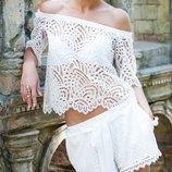 кружевной белый костюм блузка кружево итальянское шорты кружевные