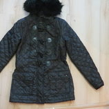 черная стеганая куртка new look на девушку 159-162рост 8-ка.36размер