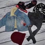 Обалденный фирменный джинсовый пиджак утепленная джинсовая курточка Next некст 9 - 12 месяцев 80 см