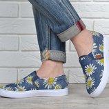Кеды женские слипоны джинсовые Denim summer в ромашках текстильные