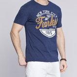 синяя мужская футболка Lc Waikiki / Лс Вайкики с надписью на груди
