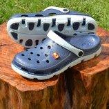 Сандалии мужские кроксы клоги темно-синие Clogs