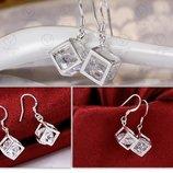 Сережки Куб стерлинговое серебро