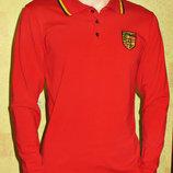 Футболка Поло Porshe стрейчевая длинный рукав красная.