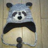 Теплющая шерстяная шапочка на флисе, объем 42-48 см.