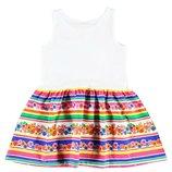 летнее платье для девочек LC Waikiki с белым верхом и цветочным низом