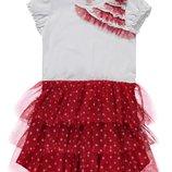 летнее платье для девочек LC Waikiki белый верх, красный низ