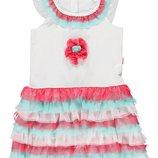 летнее платье для девочек LC Waikiki белый верх и розово-голубой низ