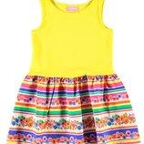 летнее платье для девочек LC Waikiki с желтым верхом и цветочным низом