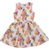 летнее платье для девочек LC Waikiki белого цвета в разноцветные цветы