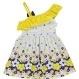 летнее платье для девочек LC Waikiki белого цвета с сине-желто-белые цветы