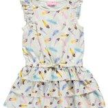 летнее платье для девочек LC Waikiki белого цвета в разноцветные перья