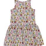 летнее платье для девочек LC Waikiki белого цвета в разноцветные зверюшки