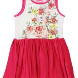 летнее платье для девочек LC Waikiki бело-розовое с цветами на груди