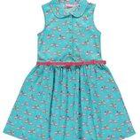 летнее платье для девочек LC Waikiki голубого цвета с фламинго