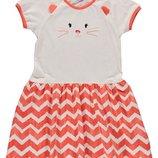 летнее платье для девочек LC Waikiki бело-красного цвета с котиком на груди