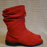 Эффектные ярко-красные фирменные замшевые сапожки Barefoot by Corami Швейцария 37 р.