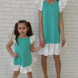 Family Look комплект 2 платья крылышки с воланом мама дочка