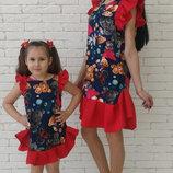 Family Look комплект 2 платья крылышки с воланом Мишки мама дочка